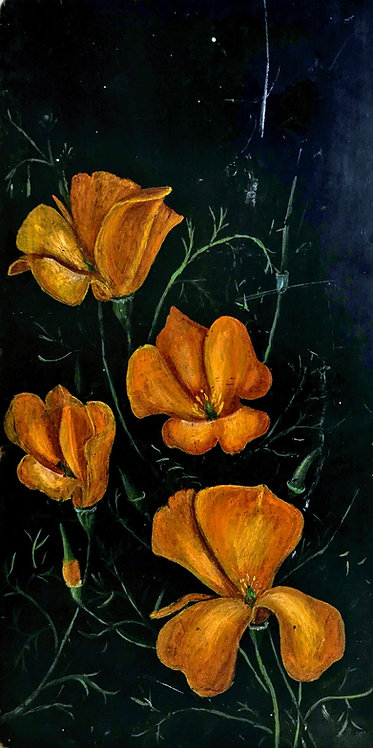 California Poppies Folk Art Oil Painting on Board