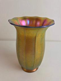 Steuben Gold Aurene Iridescent Ribbed Shade Vase