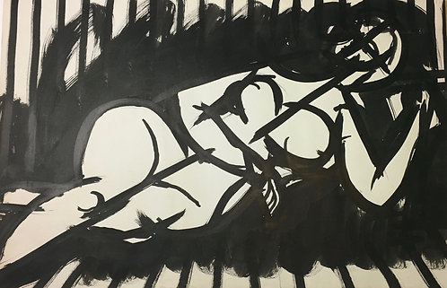"Artist Robert Gilberg Original Pen & Ink on paper ""Woman Lying"""