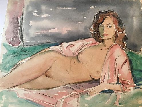 "Arthur Elliot ""Nude Woman"" Original Watercolor on paper"