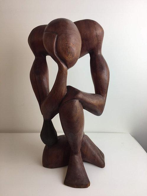 1960's Abstract Wooden Figure Sculpture