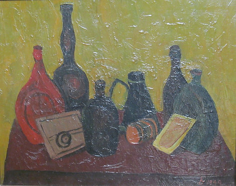 "Richard Hackett ""Liquor Bottles"" Original Oil Painting 1949"