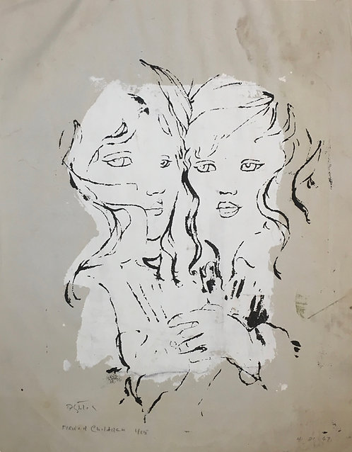 """Two Girls"" Original Mixed media on paper Artist B. Stiles"