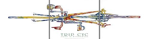 "3 Panel John D Wibberley Cycle Art - Original ""Tryp Cyc"" Print"