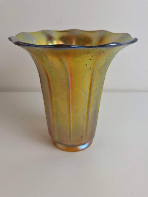 Steuben Gold Aurene Iridescent Ribbed Shade Vase - Shape # 913