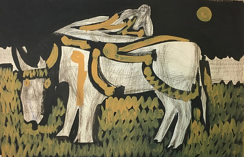 "Artist Robert Gilberg ""Woman on Cow"" Original Art Mixed Media paper Mid Century"