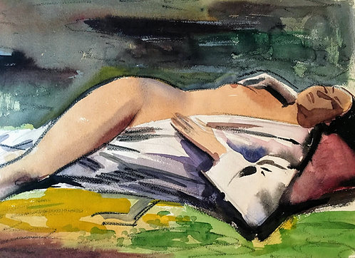 "Arthur Elliot ""Nude Woman in Robe"" Orignial Watercolor on paper"