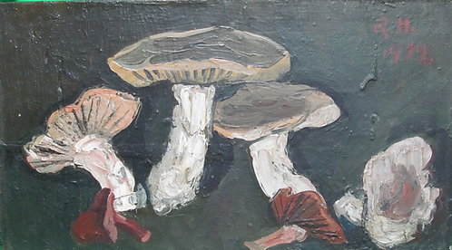 "Richard Hackett ""Mushrooms"" Oil on board"