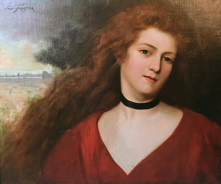 """Jose Frappa """"The Red Hair Girl"""""""" Oil on canvas"""
