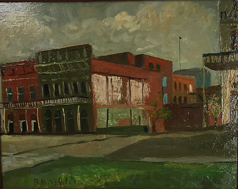 "Richard Hackett ""Building old Sacramento"" Original Oil Painting on board 1986"