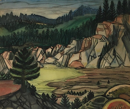 "Artist Robert Gilberg  ""foothills"" Watercolor"
