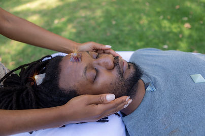 Man With Crystal on head doing reiki