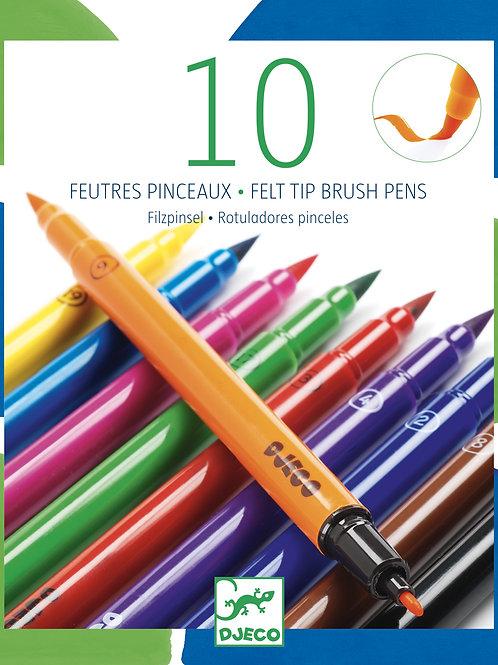 10 FEUTRES PINCEAUX