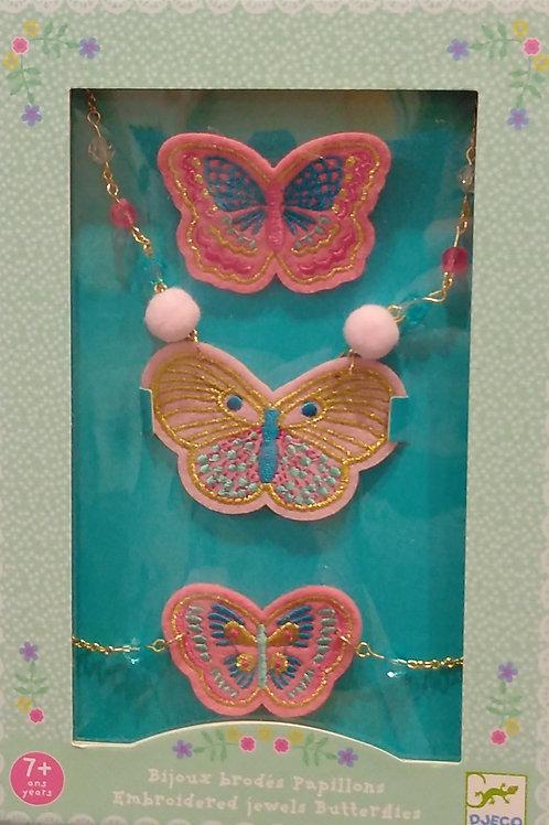 bijoux brodes papillons