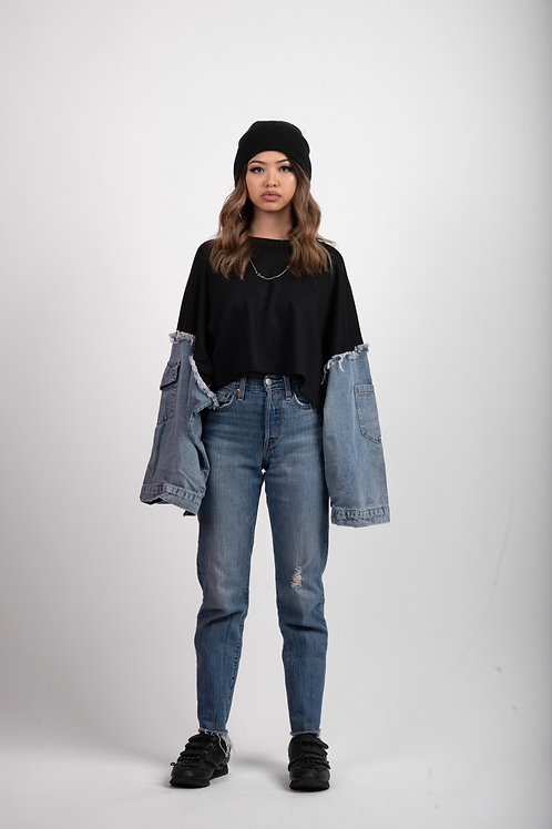 Reconstructed Denim Crewneck