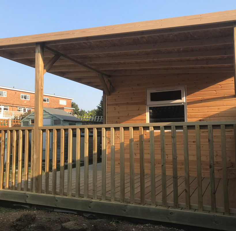 Cabin & covered decking - After