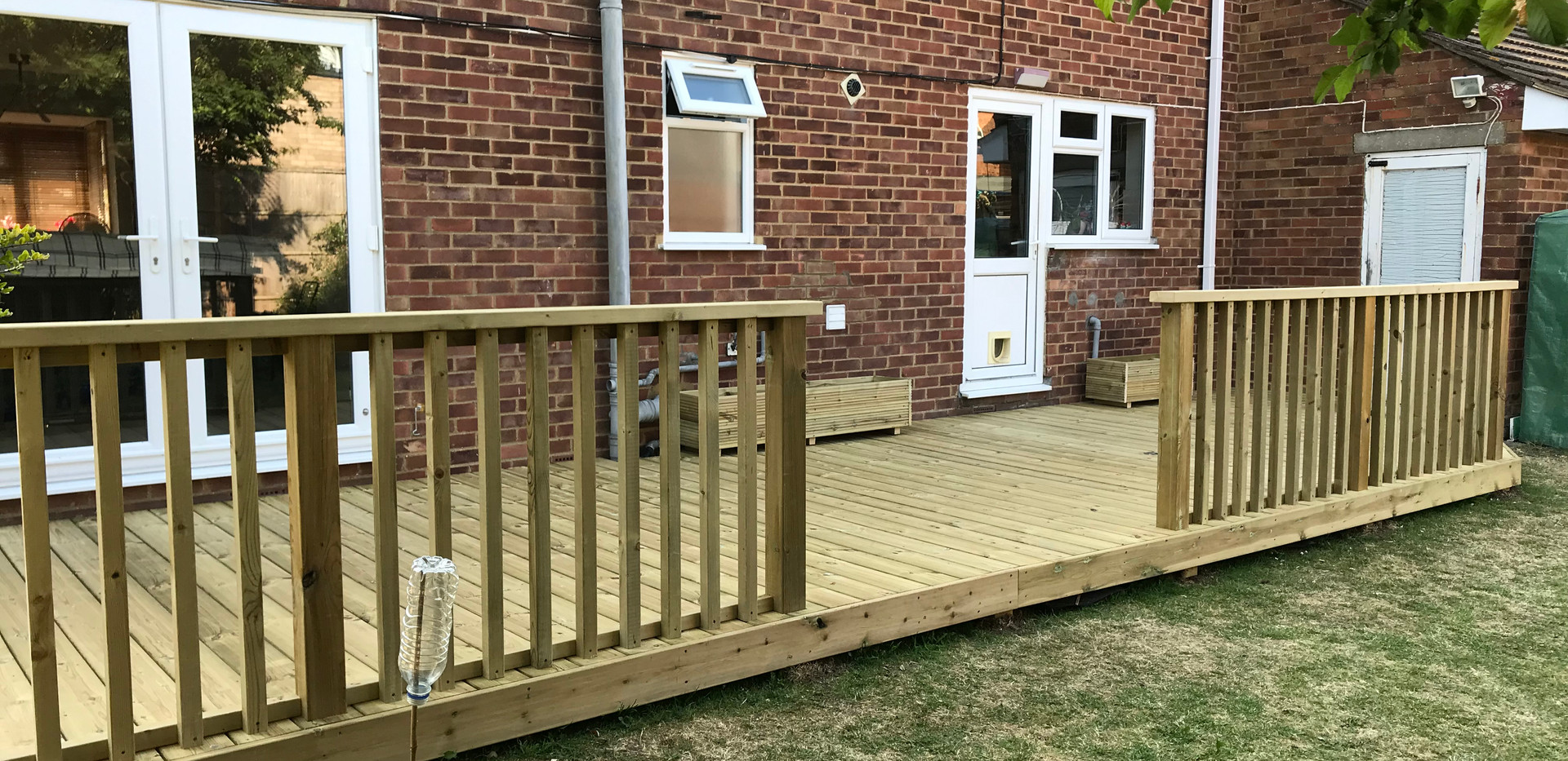 Large decking with handrails & access hatch - afterg