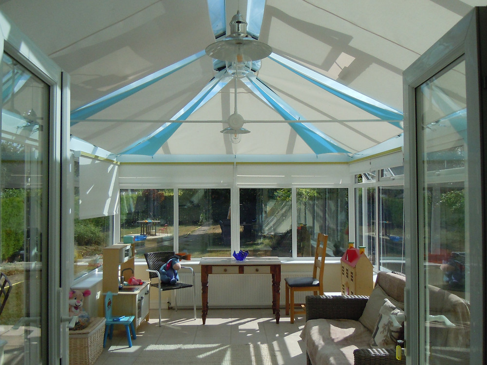plus a description We are very pleased with the sails, most of the conservatory kept within a degree or so of the outside air temperature and even now at 5pm it is only 34 degrees inside compared to 30 degrees outside temperature in the shade.     This is impressive as prior to the sails the coservatory was reaching 40 degrees at the end of a hot day.  Other benefits include much less glare and a nicer acoustic environment with a lot less echo.