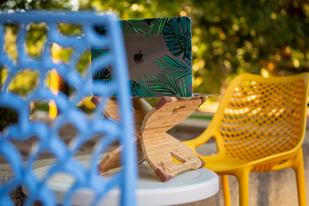 This portable standing desk even allows you to work outside!