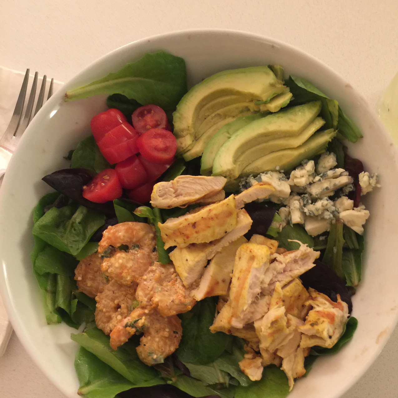 Chicken and shrimp cobb salad