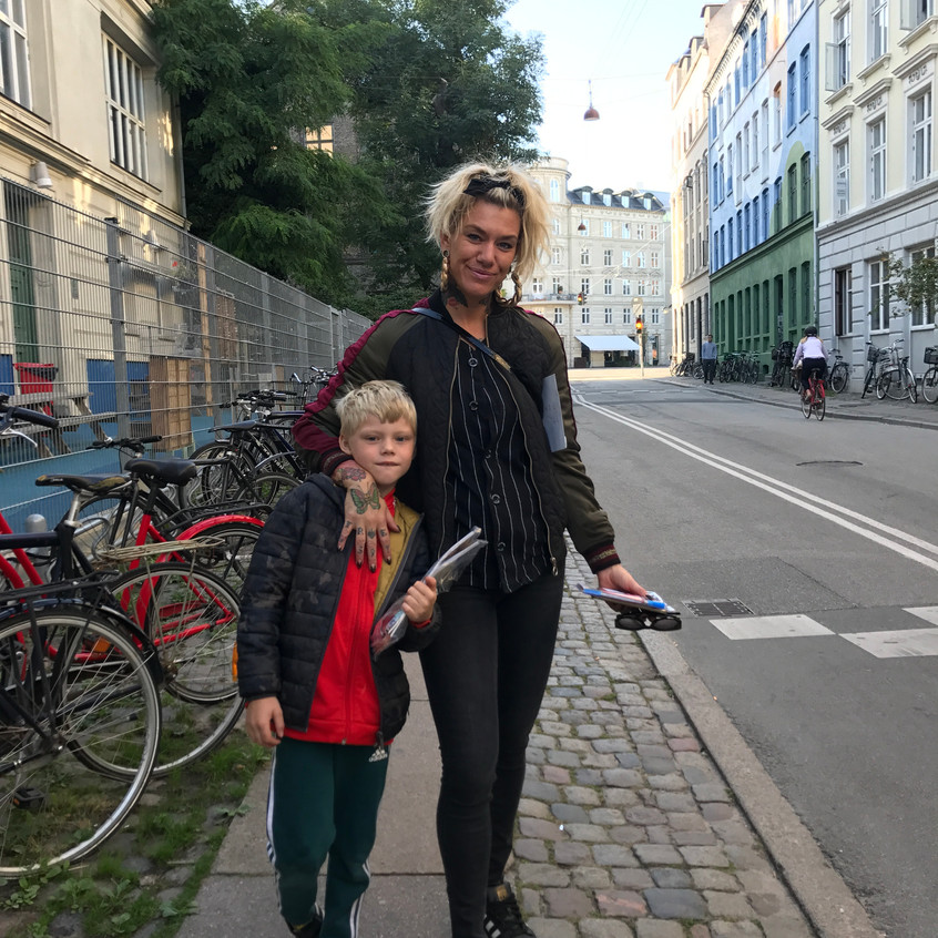 Street chic mother and son