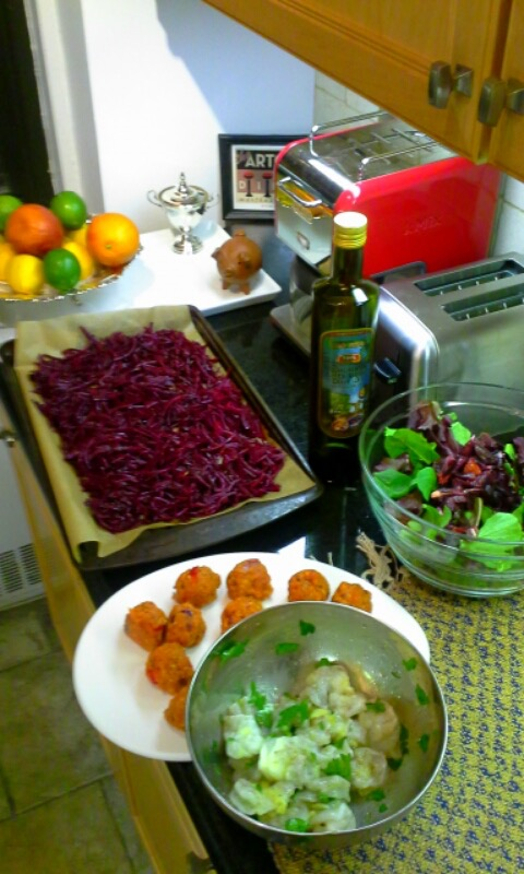 Beets, salmon meatballs, salad