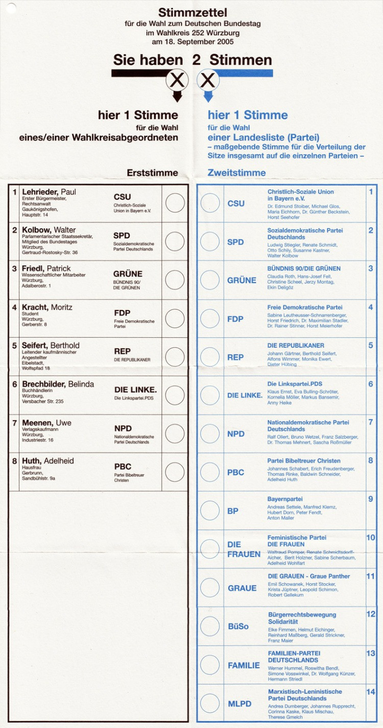 Una scheda elettorale delle elezioni politiche tedesche del 2005