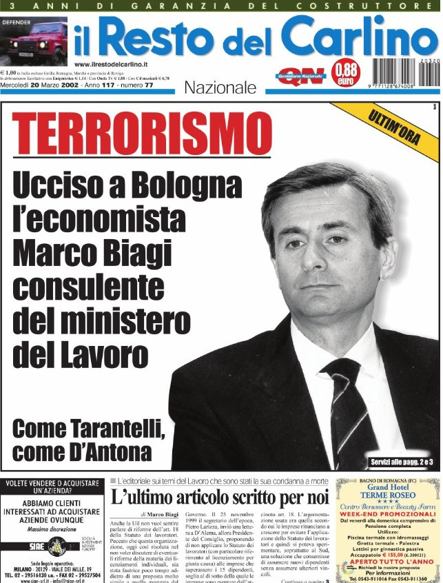 """La copertina de """"Il Resto del Carlino"""" che raccontavala morte di Marco Biagi"""