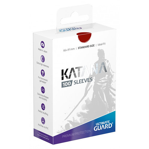 Ultimate Guard Katana Standard Size Sleeves 100's - Red