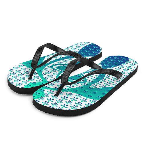 Slippers Aloha series Honu Plumeria Blue Teal