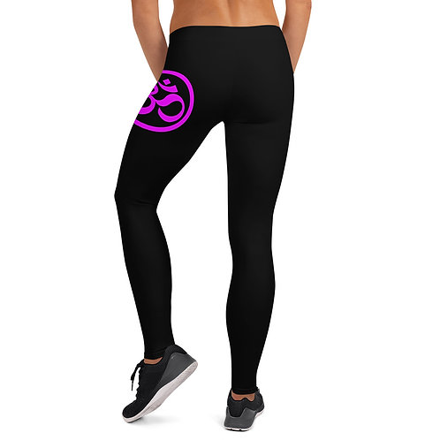 "Leggings Kaju Life ""OM"" series black with hot purple"