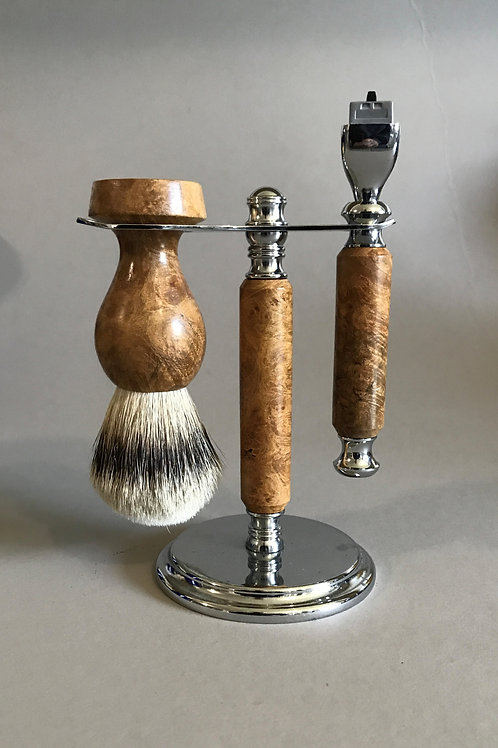 Maple Burl Shave Set