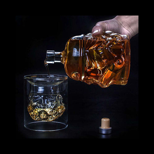 Star Wars White Soldier Whiskey Jug and Glass