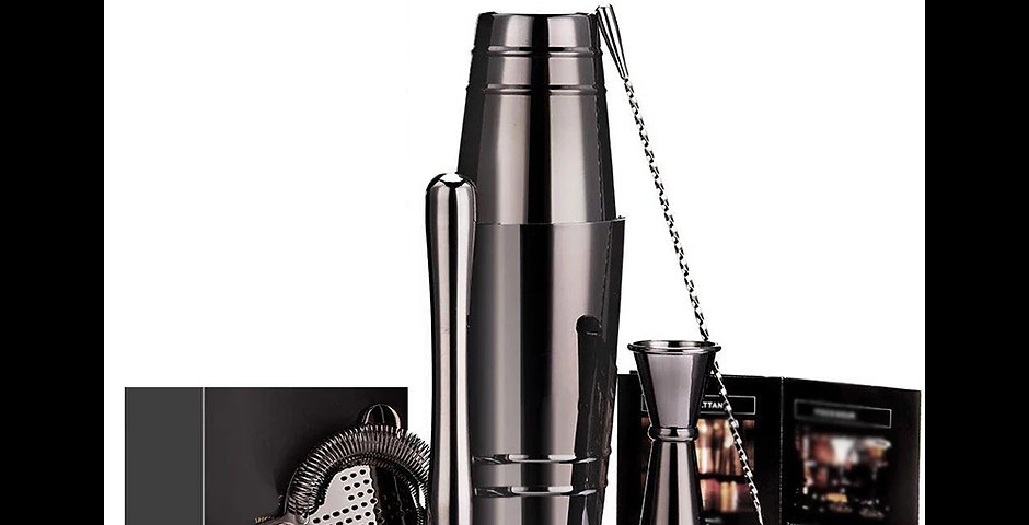 Black Plated Boston Cocktail Shaker Bar Set