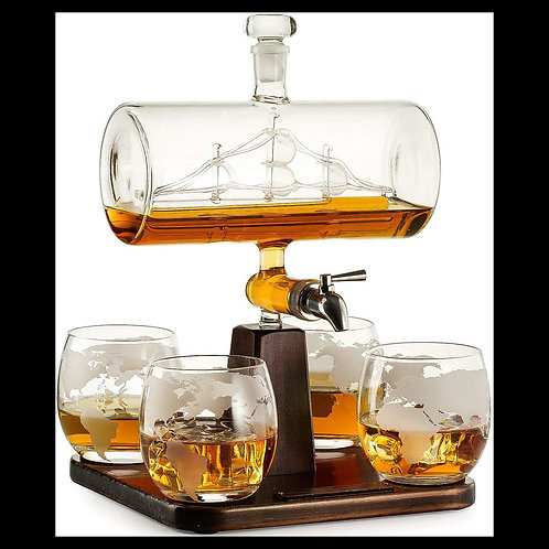 Creative Antique Boat Shape Decanter for Whiskey and Wine