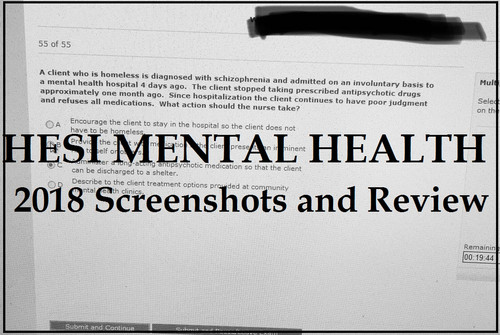 HESI MENTAL HEALTH TEST BANK 2018 SCREENSHOTS AND REVIEW