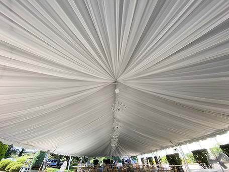 Custom Tent liner, Chandlier by DFW Event Design