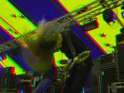 Headbanging guitar player
