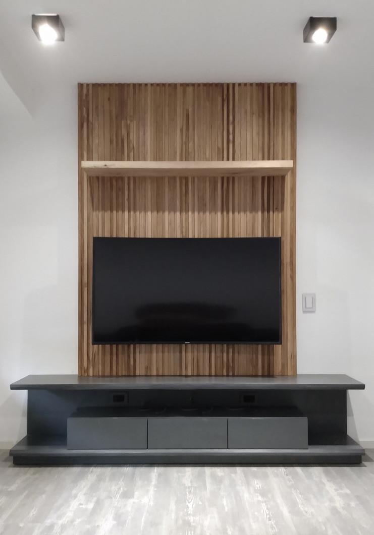 Mueble tv con fondo de brisse y melamina gris grafito