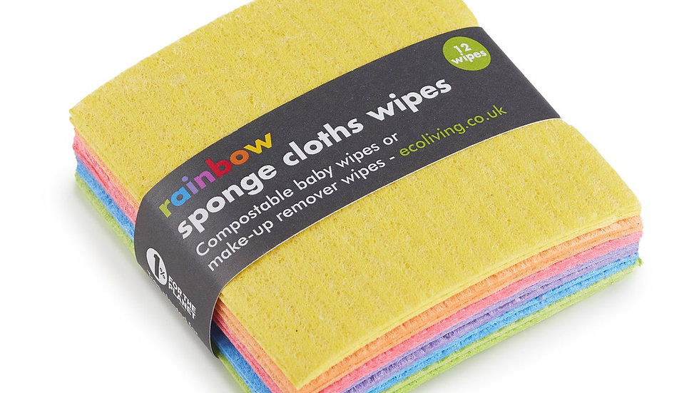 12 Rainbow Sponge Cloths Wipes