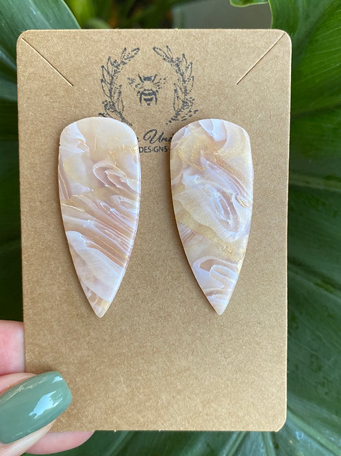 Gold Marble Dagger Studs