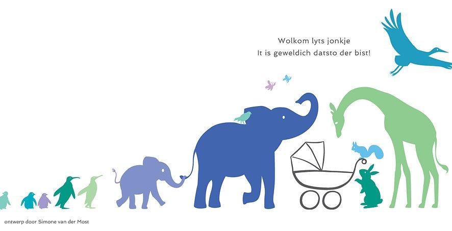geboortekaartje ontwerp, lief geboortekaartje, geboortekaart met dieren