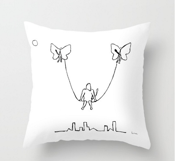 Man on A Swing - Pillow Cover