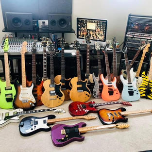Some of Brent's electric guitars