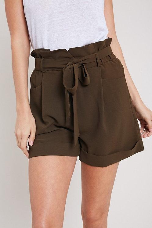 Olive Trouser Shorts