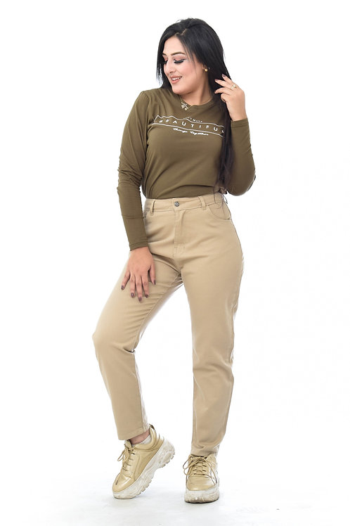 Mom fit pant - coffee