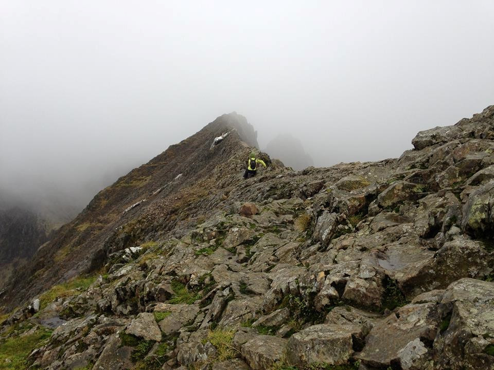 Alkis heading into the clouds on Grib Goch.