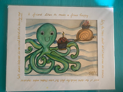 Sally the Snail Loves Cupcakes (Artist Signed, Story Print)