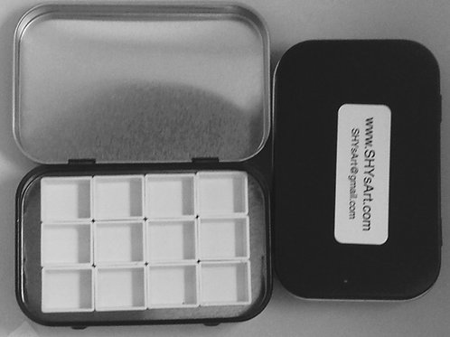 Small Tin Watercolor Palette, Hinged, Black 12 half pans