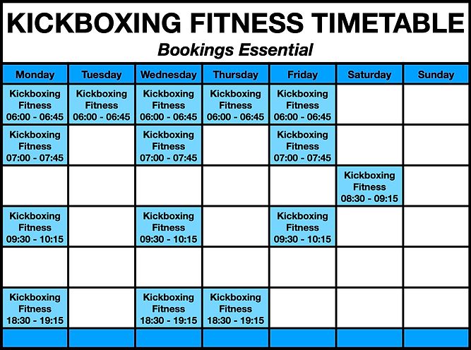 RAW Life KickBoxing Fitness TimeTable.pn